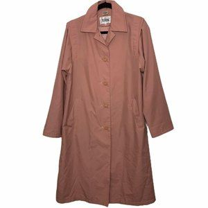 Totes Vintage Pink Buttoned Trench Coat Size 4P